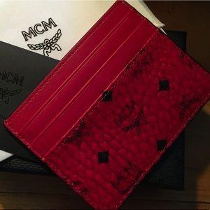 MCM Red Visetos Money Clip Card Holder
